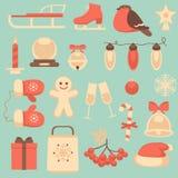Ícones do ano novo e do Natal ajustados Fotografia de Stock Royalty Free