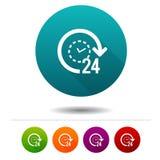 ícones do apoio 24h sinais do comércio eletrónico Símbolo da compra Botões da Web do círculo do vetor Fotos de Stock Royalty Free
