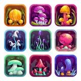 Ícones do App com os cogumelos brilhantes coloridos dos desenhos animados da fantasia no quadro ilustração royalty free