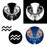 Ícones do Aquarius do zodíaco Foto de Stock Royalty Free