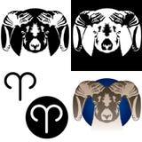 Ícones do Aries do zodíaco Fotografia de Stock Royalty Free