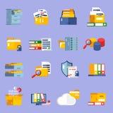 Ícones do arquivo ajustados Foto de Stock Royalty Free