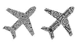 Ícones do avião do mosaico de ferramentas do reparo ilustração stock