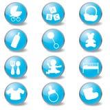 Ícones do azul de bebê ilustração stock