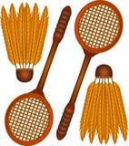 Ícones do Badminton ilustração royalty free