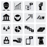 Ícones do banco & do dinheiro (sinais) relativos à riqueza, ativos Fotografia de Stock