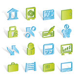 Ícones do banco, do negócio e da finança Fotografia de Stock Royalty Free