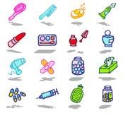 ícones do banheiro ajustados Imagens de Stock Royalty Free