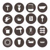 ícones do banheiro ajustados banho do equipamento Fotografia de Stock Royalty Free