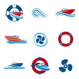 Ícones do barco de motor ajustados Fotografia de Stock Royalty Free