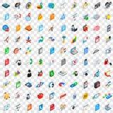 100 ícones do base de dados e da nuvem ajustaram-se, estilo isométrico Fotografia de Stock Royalty Free