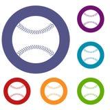 Ícones do basebol ajustados ilustração stock