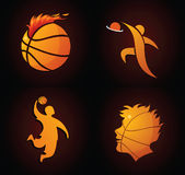 Ícones do basquetebol ilustração do vetor