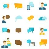 Ícones do bate-papo lisos Imagem de Stock
