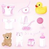 Ícones do bebê ajustados Fotografia de Stock Royalty Free