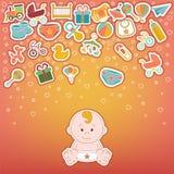 Ícones do bebê ajustados O bebê da garatuja etiqueta a ilustração do vetor Imagens de Stock Royalty Free