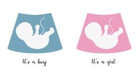 Ícones do bebê da ecografia com texto ilustração royalty free