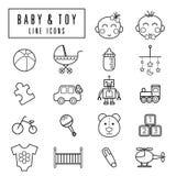 Ícones do bebê e do brinquedo ilustração royalty free