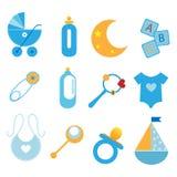 Ícones do bebê - menino Fotos de Stock