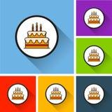 Ícones do bolo de aniversário com sombra longa Imagens de Stock
