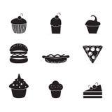 Ícones do bolo & dos queques Foto de Stock