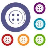 Ícones do botão da costura ajustados ilustração do vetor