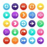 Ícones do botão da Web da cor da seta Seta e repetição, símbolos do Web site do vetor de sentido Fotos de Stock Royalty Free