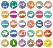 Ícones do branco do transporte Fotografia de Stock