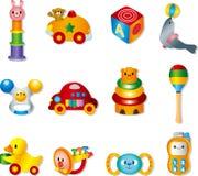 Ícones do brinquedo do vetor. Brinquedos do bebê Fotografia de Stock