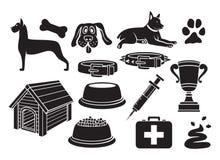 Ícones do cão ajustados ilustração stock
