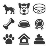 Ícones do cão ajustados no fundo branco Vetor Fotos de Stock