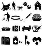 Ícones do cão de estimação ajustados ilustração stock