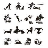 Ícones do cão e gato ajustados ilustração royalty free