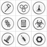 9 ícones do círculo da ciência, ilustração do vetor Fotos de Stock