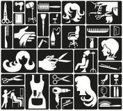 Ícones do cabeleireiro ilustração royalty free