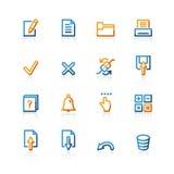 Ícones do caderno do contorno Imagens de Stock