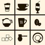 Ícones do café Fotografia de Stock