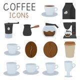 Ícones do café ajustados no estilo liso, no moedor de café, nos copos, etc. Ilustra??o do vetor ilustração stock