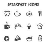 Ícones do café da manhã Foto de Stock Royalty Free