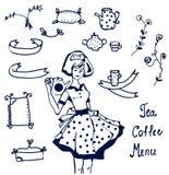 Ícones do café e do chá - entregue gráficos tirados Fotos de Stock Royalty Free