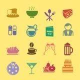 Ícones do café e do restaurante ajustados Imagens de Stock Royalty Free