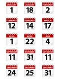 Ícones do calendário Imagem de Stock