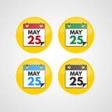 Ícones do calendário ajustados Fotos de Stock Royalty Free