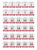 Ícones do calendário de setembro Imagem de Stock
