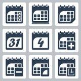 Ícones do calendário do vetor ajustados Fotos de Stock