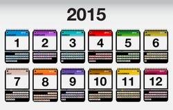 2015 ícones do calendário do vetor ajustados Foto de Stock Royalty Free
