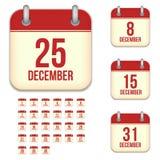 Ícones do calendário do vetor de dezembro ilustração royalty free