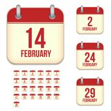 Ícones do calendário do vetor de fevereiro Imagem de Stock Royalty Free