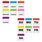 Ícones do calendário dos dias da semana ilustração stock