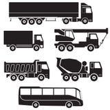 Ícones do caminhão ajustados Coleção do vetor dos veículos ilustração stock